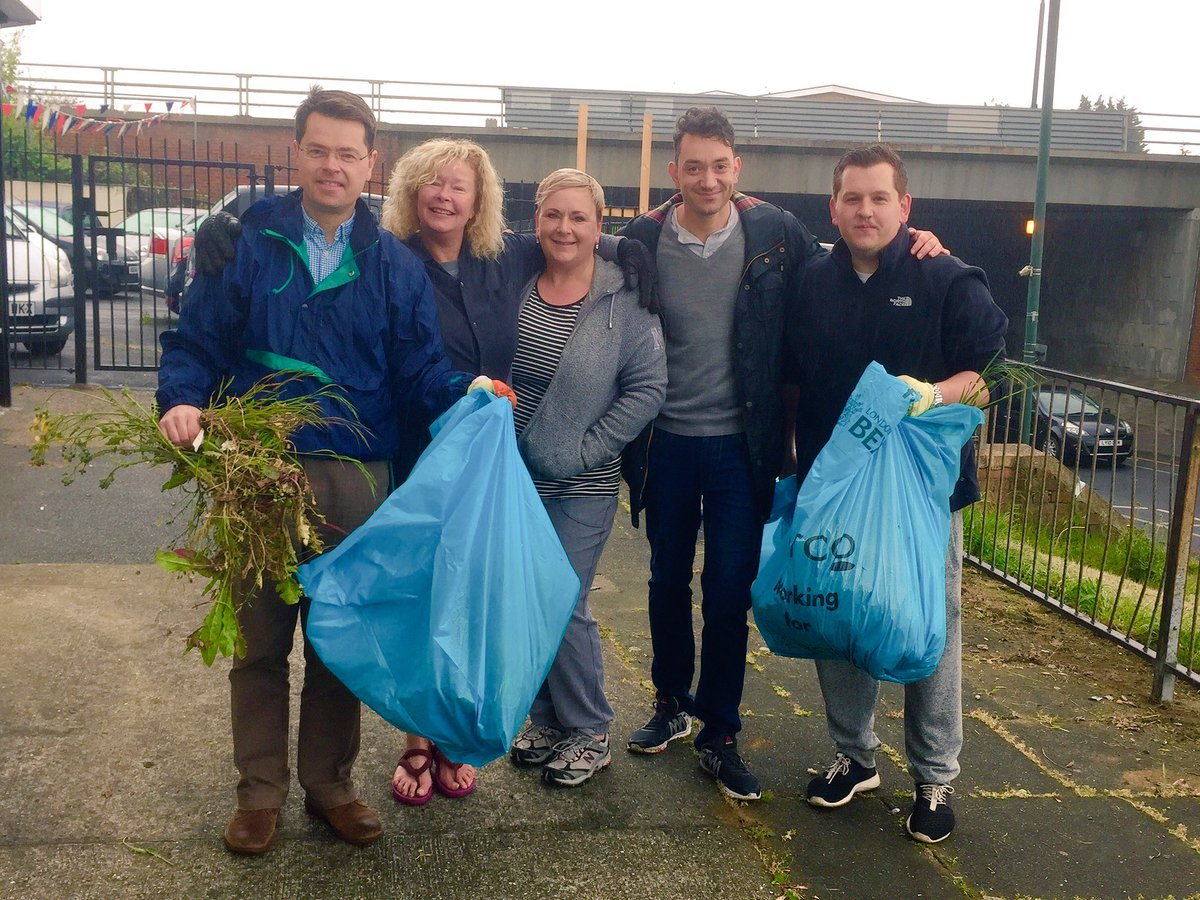 Cllr Louie French with James Brokenshire MP litter picking and weeding with local volunteers.